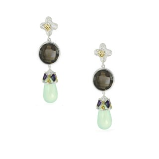 One-of-a-kind Michael Valitutti Smokey Quartz with Amethyst and Green Quartz Dangling Drop Earrings