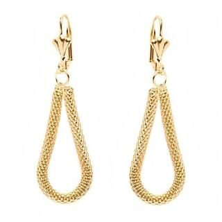Yellow Gold Plated Brass Mesh Teardrop Earrings