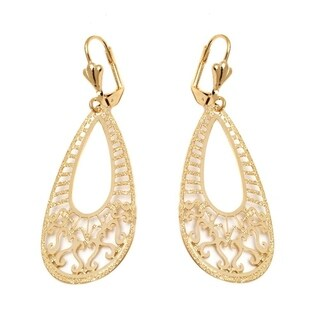 Goldplated Swirl Cutout Teardrop Earrings