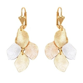 Goldplated Brass Three-tone Textured Leaf Drop Earrings