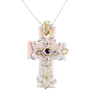 One-of-a-kind Michael Valitutti Cross Carved Pink Shell with Pink Sapphire and Rhodolite Pendant