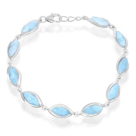 La Preciosa Sterling Silver Larimar Marquise Link Bracelet
