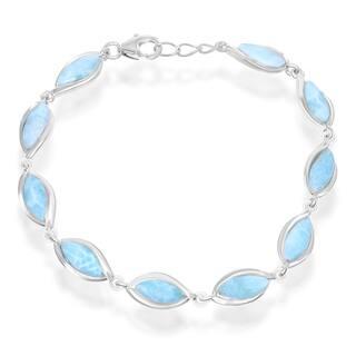 La Preciosa Sterling Silver Larimar Marquise Link Bracelet|https://ak1.ostkcdn.com/images/products/12555132/P19355868.jpg?impolicy=medium