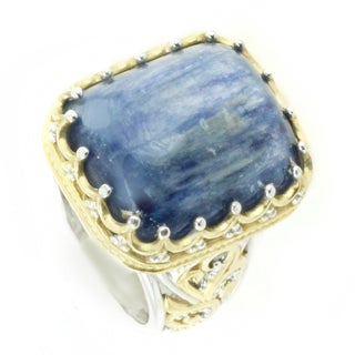 One-of-a-kind Michael Valitutti Cushion Kyanite with Blue Sapphire Ring