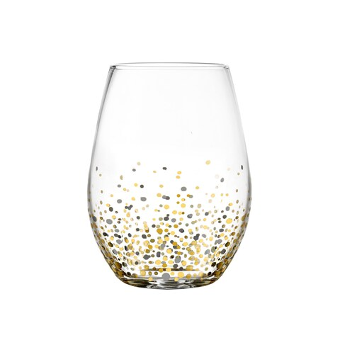 Fitz Floyd Confetti Black and Gold Stemless Glasses (Pack of 4)