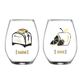 Fifth Avenue Crystal 'Toasted' & 'Juiced' Stemless Glasses (Set of 2)