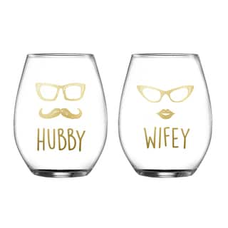 Hubby/Wifey Stemless Glasses (Set of 2)