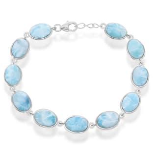 La Preciosa Sterling Silver Oval Larimar Link Bracelet|https://ak1.ostkcdn.com/images/products/12555158/P19355869.jpg?impolicy=medium