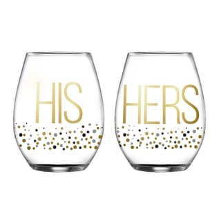 Fifth Avenue Crystal His/Hers Luster Stemless Glasses (Set of 2)