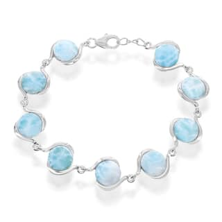 La Preciosa Sterling Silver Blue Gemstone Round Larimar Link Bracelet