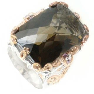 One-of-a-kind Michael Valitutti Smoky Quartz and Pink Sapphire Cocktail Ring