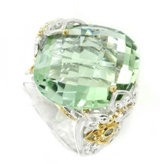 One-of-a-kind Michael Valitutti Marquise Check Top Green Amethyst (Prasiolite) with Green Sapphire Cocktail Ring|https://ak1.ostkcdn.com/images/products/12555169/P19355904.jpg?impolicy=medium