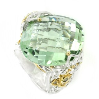 One-of-a-kind Michael Valitutti Marquise Check Top Green Amethyst (Prasiolite) with Green Sapphire Cocktail Ring