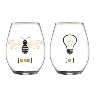 Fifth Avenue Crystal Lit and Buzzed Stemless Glasses (Set of 2)