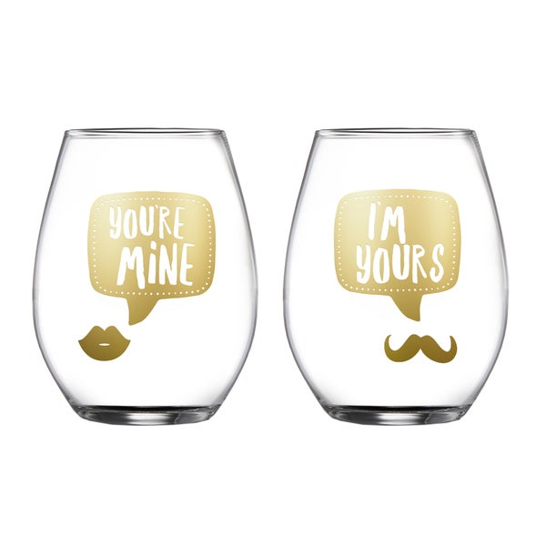 Yours/Mine' Clear Glass Stemless Glasses (Set of 2)