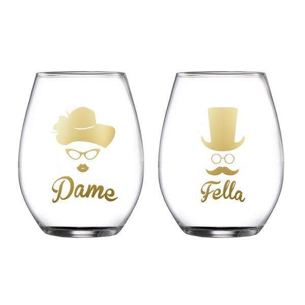 Dame/Fella Set of 2 Stemless Glasses