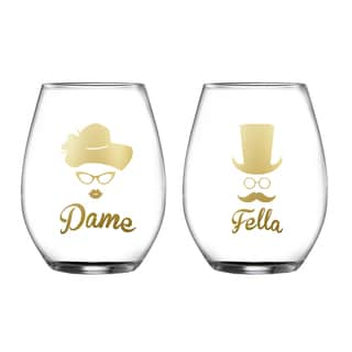 Dame/Fella Set of 2 Stemless Glasses
