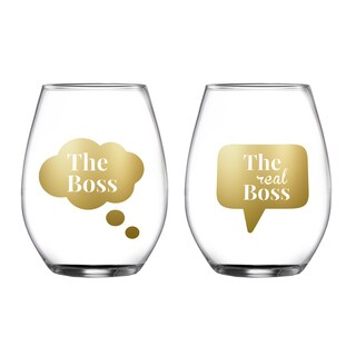 Fifth Avenue Crystal Boss/Real Boss Clear Stemless Glasses (Set of 2 )