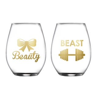 Fifth Avenue Crystal Beauty/ Beast Clear Stemless Glasses (Set of 2)