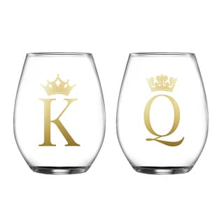 King/Queen Clear Glass Stemless Drinking Glasses (Set of 2)