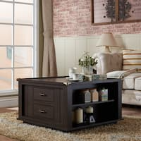 Furniture of America Edith Traditional Square Espresso Storage Coffee Table