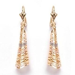 Goldplated Brass Triple-tone Triangle Fold Drop Earrings