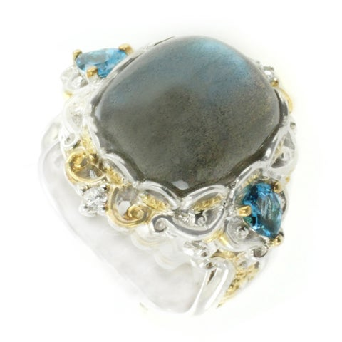 One-of-a-kind Michael Valitutti Labradorite with London Blue Topaz and White Sapphire Cocktail Ring