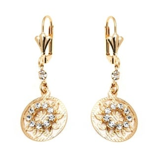 18K Goldplated Gold and Clear Crystal Round Drop Earrings