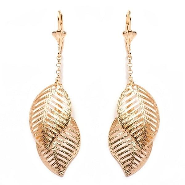 Goldplated Double Open Leaf Drop Earrings
