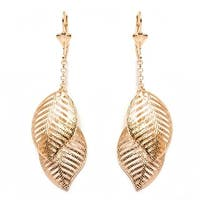 Goldplated Double Open Leaf Drop Earrings