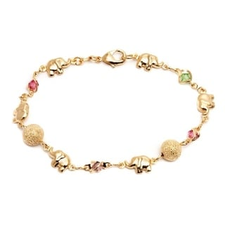 Goldplated Multicolored Crystal Elephant and Ball Bracelet