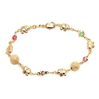 Goldplated Multicolored Crystal Elephant and Ball Bracelet - Gold