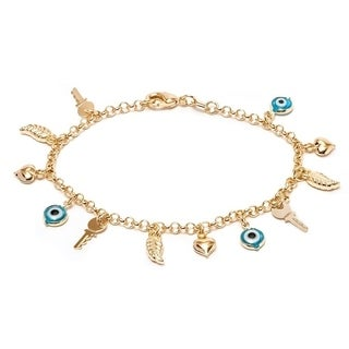 18K Goldplated Gold and Blue Crystal Evil eye and Key Charm Bracelet