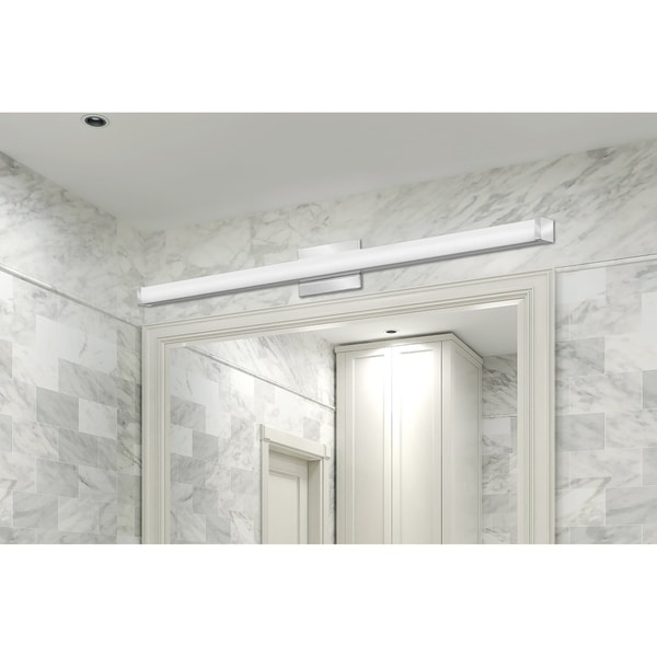 Lithonia Lighting Contemporary Square White Acrylic Chrome 4-foot LED Vanity Light