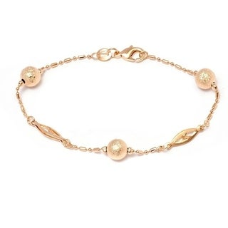 Peermont Jewelry 18K Gold-plated Diamond-crushed Ball Bead Bracelet
