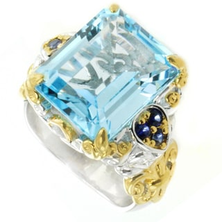 One-of-a-kind Michael Valitutti Emerald Cut Swiss Blue Topaz with Blue Sapphire Cocktail Ring