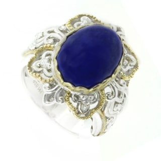 One-of-a-kind Michael Valitutti Lapis Lazuli and White Sapphire Cocktail Ring