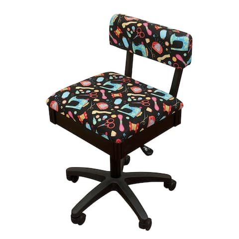 Arrow Sewing Cabinets Black Wood Black Patterned Fabric Height Adjustable Sewing Table Chair