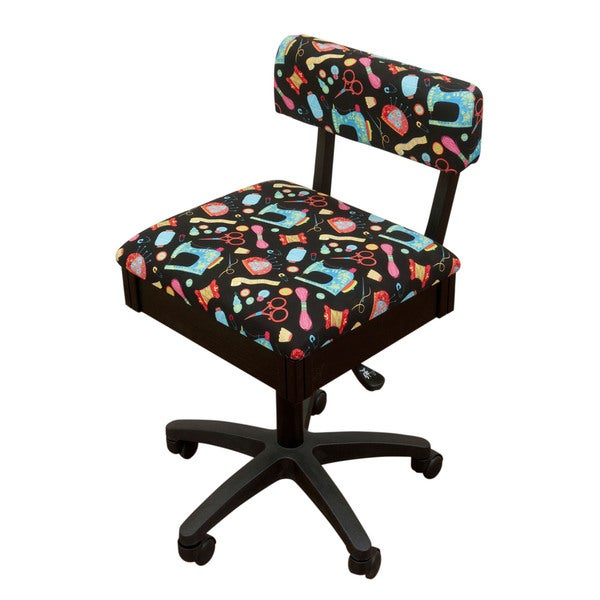 Arrow Sewing Cabinets Black Wood Patterned Fabric Height Adjule Table Chair