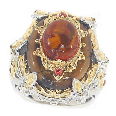 Michael Valitutti Palladium Silver Tiger's Eye, Amber and Orange Sapphire Cocktail Ring