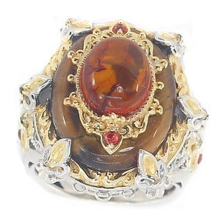 Michael Valitutti Amber Cabochon with Tigers Eye and Orange Sapphire Cocktail Ring