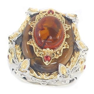 Michael Valitutti Amber Cabochon with Tigers Eye and Orange Sapphire Cocktail Ring|https://ak1.ostkcdn.com/images/products/12555315/P19356076.jpg?impolicy=medium