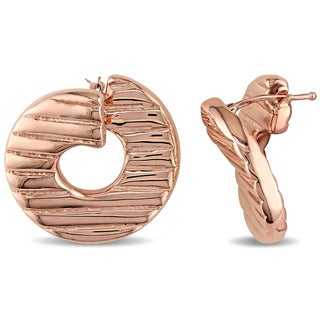 Textured Twist Hoop Earrings in Italian Rose Plated Sterling Silver by Miadora