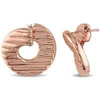 Miadora Textured Twist Hoop Earrings in Italian Rose Plated Sterling Silver