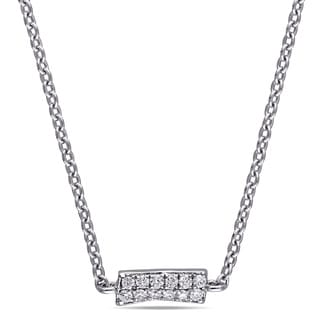 1/3ct TDW Diamond Cluster Station Necklace in 18k White Gold By The Miadora Signature Collection