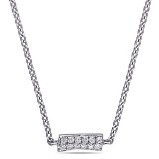 Miadora Signature Collection 18k White Gold 1/3ct TDW Diamond Cluster Station Necklace