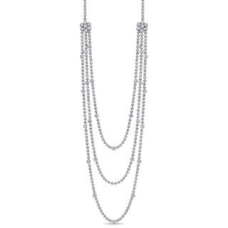 Miadora Signature Collection 18k White Gold 27 1/7ct TDW Diamond Layered Station Necklace (G-H, I1-I2)