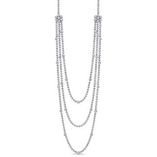 Miadora Signature Collection 18k White Gold 27 1/7ct TDW Diamond Layered Station Necklace