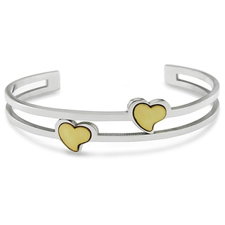 Yellow Heart Accent Open Cuff Bangle in Yellow Gold Plated Stainless Steel by Miadora