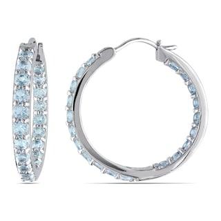 Aquamarine Inside-Outside Hoop Earrings in Sterling Silver by Miadora